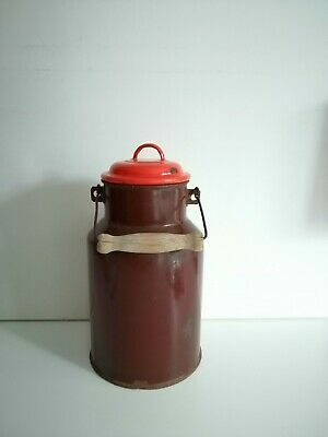 Vintage Enamel Milk Can Farmhouse Milk Jug Rustic Brown Large Rusty Pot 22 99 Picclick Uk