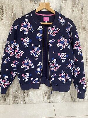 Brand New With Tags. Joules White And Navy Bird Print Bomber Jacket Size 12
