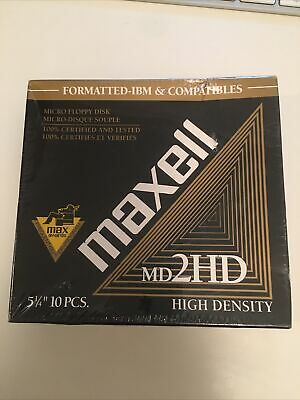 One Sealed New 5 1/4 box of Floppy Disks MD2HD 10 discs in box Formatted IBM