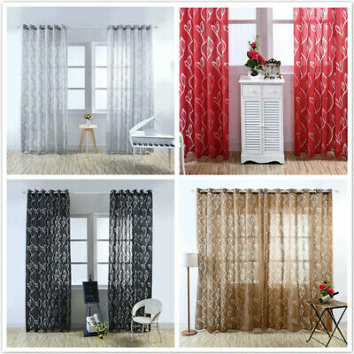 Home Tulip Floral Net Tulle Sheer Panel Window Curtain Voile Door Divider NF