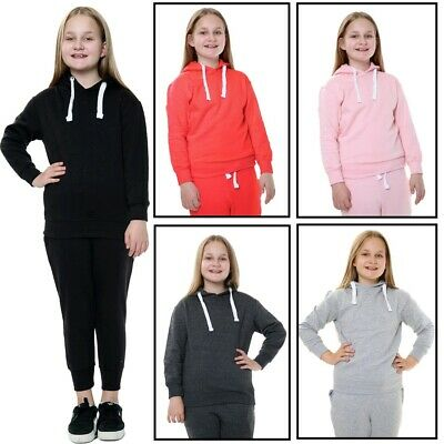 Unisex Boys Girls Plain Hooded Tracksuit Top Jogging Bottom School Full Suit