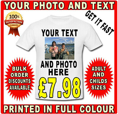 Personalised T-shirt Photo Custom Printed Image Any Text Hen Stag Party Holidays