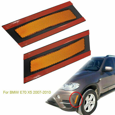 Front Bumper Amber Front Side Reflectors For BMW E70 X5 2007-2010 1 Pair NEW