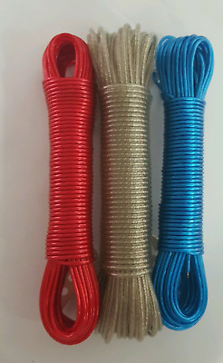 STRONG  CLOTHES  METAL LINE WASHING LINE PLASTIC CODED  GARDEN CAMPING CORD 20M