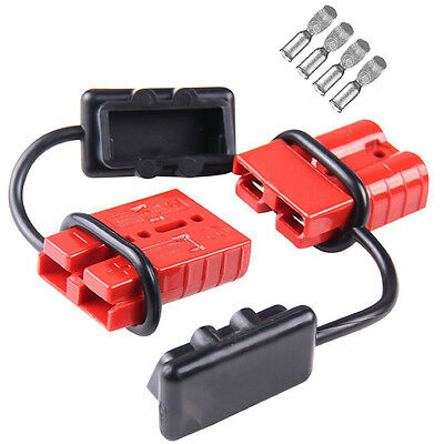 50A 6AWG -Grey 2pc Battery Quick Connector Kit 50a Plug Connect Disconnect Winch Trailer