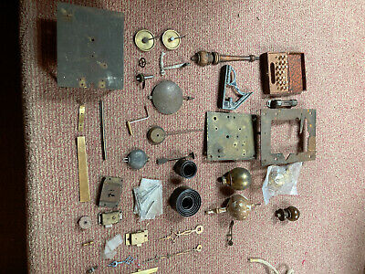 Long case clock parts ,hands and tools