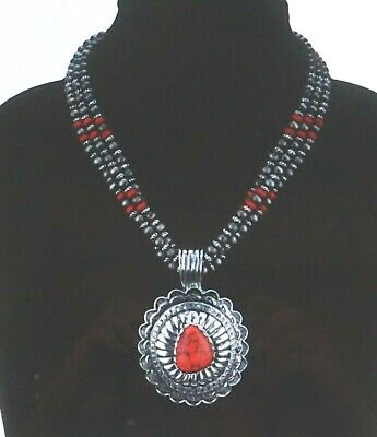 Turquoise and Red Jasper Necklace 2 pc Jewelry Set *ROXIE* Cowgirl Necklace Rustic Necklace Western Jewelry