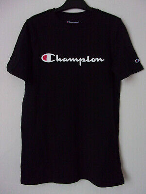 New Boys Kids Champion Black 100% Cotton T-Shirt Top Size: XS Age: 5-6 Years