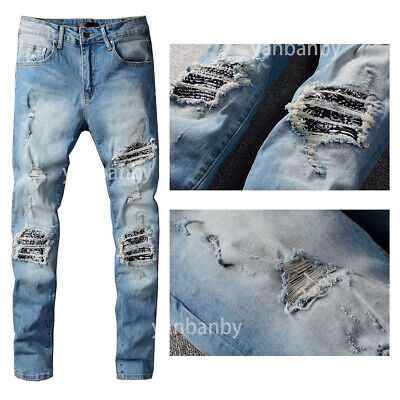 New Italy Pop Style Sequin Frayed Blue Jeans Men Moto Pants Slim Trousers AM626C