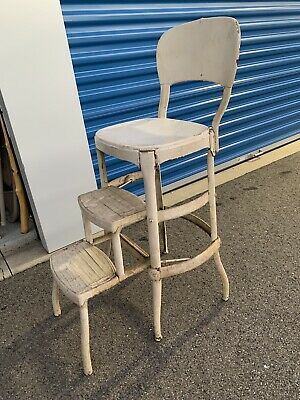 Vintage Metal Step Stool Chair Off 68, Antique Kitchen Step Stool Chair