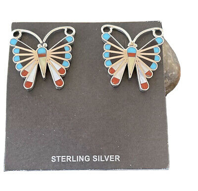 Zuni Native American Sterling Silver Inlay SB Turquoise Coral Mop Earrings 1085