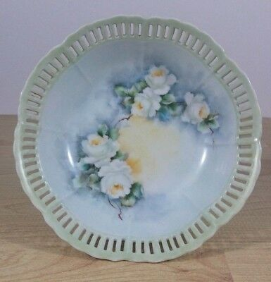 Hollohaza of Hungary Reticulated  Pierced Porcelain Floral Transferware Serving Dish