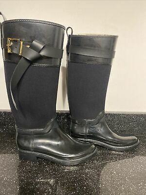 Womens Black Laced Wellington Boots Wellies Size 4-7 WEL2