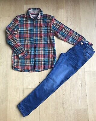NEXT *11/12y BOYS CASUAL CHECKED SHIRT & JEANS OUTFIT AGE 11 / 12 YEARS