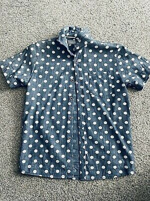 Next Signature Boys Faded Denim Shirt Spotted Top Age 9 - B4