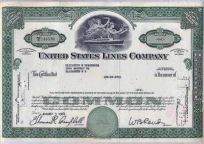 United States Lines Company Stock Certificate New Jersey