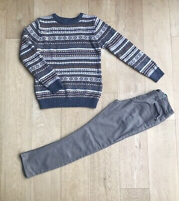 NEXT BOYS OUTFIT *9y BOYS FAIRISLE STYLE JUMPER & JEANS OUTFIT AGE 9 YEARS