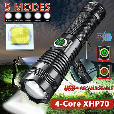 1200000 LM Zoomable XHP70 LED Ultra Bright 26650 Powerful USB Flashlight Torch