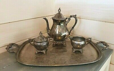 Vintage Silverplate Footed Teapot Creamer Sugar Bowl and Serving Tray