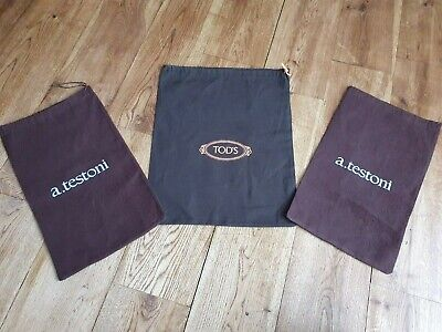 Tod's a.testoni set of 3 brown shoes bag/shoes dust protectors