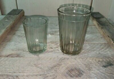 2 sets Faceted Glass 250 ml stainless steel holder USSR Soviet Russian Vintage