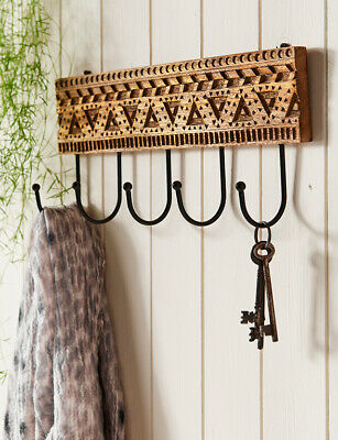 ideal as a key or tea towel holder D Single hook hand carved mango wood plaque