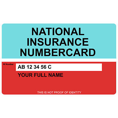 National Insurance Number CardFree P/&P