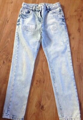 Boys Age 10 Years Next Scratch Faded Jeans Vgc