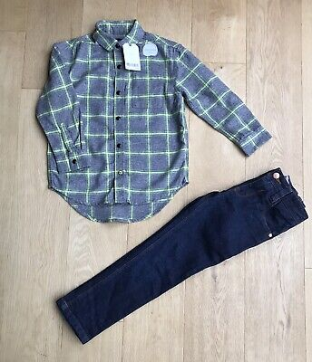NEXT BOYS JEANS OUTFIT *5y BOYS JEANS NEW CHECKED CASUAL SHIRT TOP AGE 5 YEARS