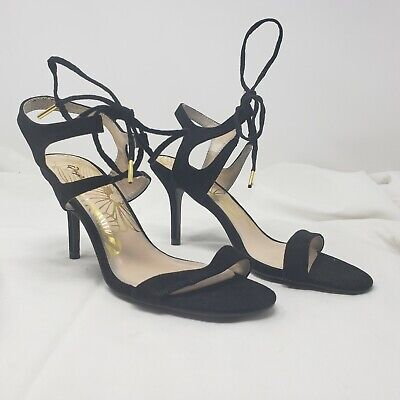 Details about  /Qupid Chester 120 Black Suede Women/'s Studded Criss Cross Strappy Heel