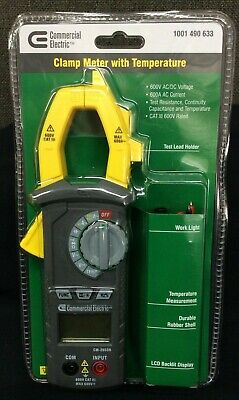 Commercial Electric Clamp Meter w/Temperature~ 600V AC/DC Voltage~ 600A~ New!