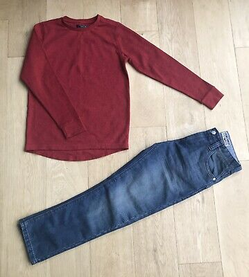 NEXT BOYS JEANS OUTFIT *9y BOYS JUMPER JEANS OUTFIT AGE 9 YEARS
