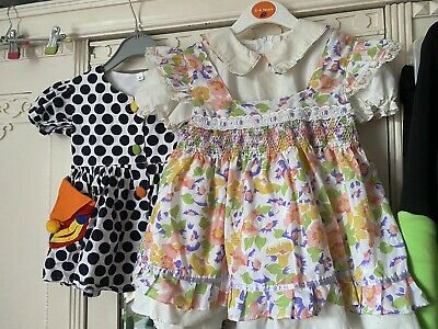 Two Vintage Girls Dress 90's Cool Kids Childrens Floral 9-12 Months Floral Spot