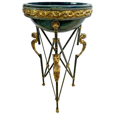 Maitland Smith Torchere Plant Stand Neoclassical Egyptian Revival Bowl repaired