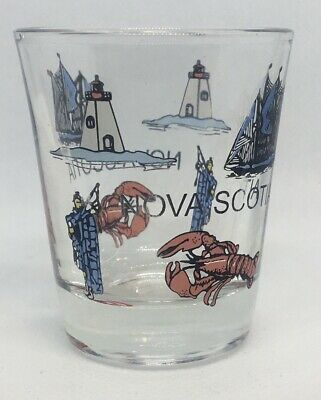 Crest and Sites on 1oz Frosted Glass Shot Glass Canada with Lighthouse Covered Bridge New Brunswick NEW
