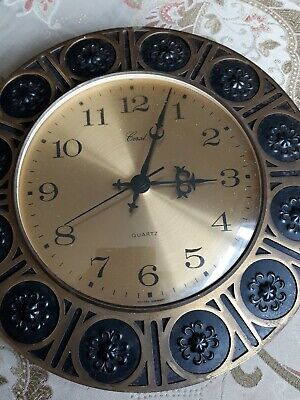 RARE Collectable Vintage RETRO 1960s 1970s Wall Clock by CORAL 🌼🌼 11inch Wide