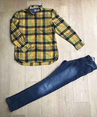 NEXT BOYS JEANS OUTFIT *11y JEANS NEW CHECKED CASUAL SHIRT  OUTFIT AGE 11 YEARS