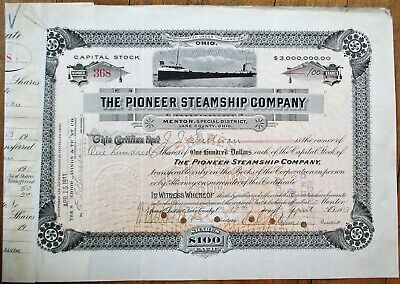 Pioneer Steamship Company 1913 Stock Certificate - Mentor, Lake County, Ohio OH