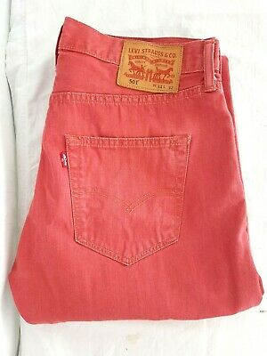 "Levi 501s Coral coloured Demin Jeans W 34"" L 31""  Button Fly unisex Good B29"