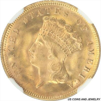 1878 Indian Princess Three Dollar Gold Piece NGC MS65+ RARE Low Mintage Coin