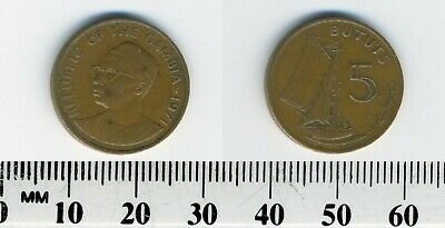 Gambia 1971 - 5 Bututs Bronze Coin - President's bust - Sailing vessel