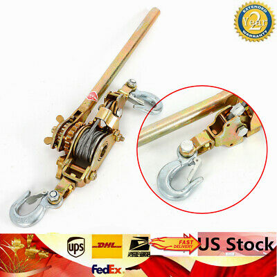 HD 2 Ton Ratcheting Lever Hoist Hand Puller Come Along 2 Hooks Cable Dual Gear