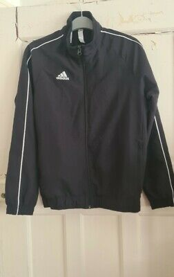 11-12 Years Boys Girls Unisex Adidas Black Zip Up Front Tracksuit Top