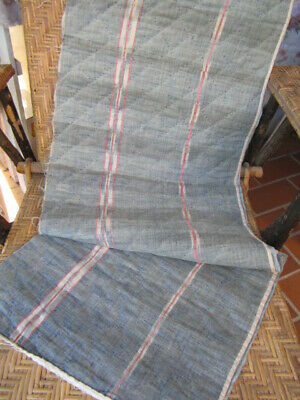 Rare Quilted 18th FRENCH FLAMMé IKAT Fabric INDIGO BLUE Fragment Timeworn Canopy