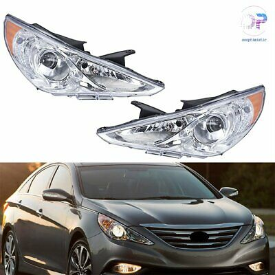 For Sonata 11-14 Pair Chrome Housing Amber Corner Projector Headlight Head Lamps