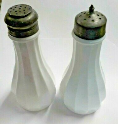 "Antique White Milk Glass Salt & Pepper Shakers Set w/ Great Lids 4 1/2"" Tall"