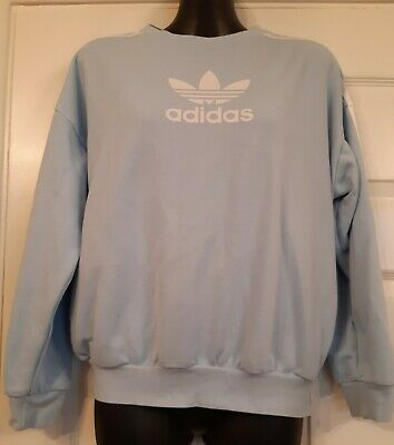 Adidas Pale Blue Crew Sweatshirt Age 12-14 Relaxed Fit, 3 stripe, Trefoil VGC
