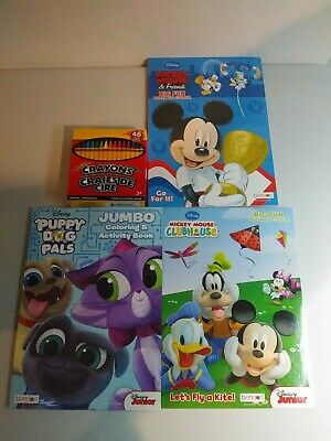 Lot Of 3 Coloring Books Disney Mickey Mouse With Crayons Children Free Ship
