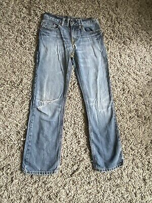 Boys Ralph Lauren Polo Denim Blue Faded Distressed Look Ripped Jeans Age 10 Yrs