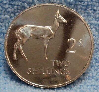 Zambia 2 SHILLING, 1964 Proof Bohor Reedbuck Antelope RARE VERY Low Mintage 5K